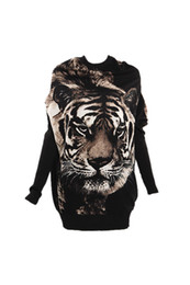 Wholesale Tiger Print Top Jumper - Wholesale- SYB 2016 NEW Women Dolman Long Sleeve Sweater Jumper Knitted Top Tiger Print