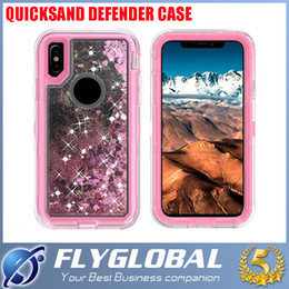 Wholesale Iphone Rugged Bling Case - For iPhone X 8 7 Plus 6 6S Plus Fashion Bling Liquid Quicksand Crystal Robot Case For Samsung Note 8 S8 Plus Defender Rugged Hybrid Cover