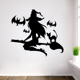 Wholesale Vinyl Decal Witch - Witch on the broom wall stickers holloween decoration graphics broomstick with animals wall art decals decor