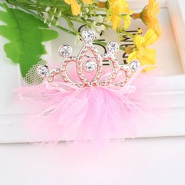 Wholesale Gray Hair Clips - 5 Pcs High Quality Baby Girls Tiaras Kids Barrettes Rhinestone Lovely Princess Crown Hairpin Children Hair Clips Accessories