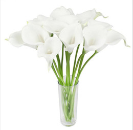 Wholesale Flowers Calla Lilies - Real Touch Artificial Flowers Wedding Decorative Flowers Calla Lily Fake Flowers Wedding Party Decoration Accessories G1066