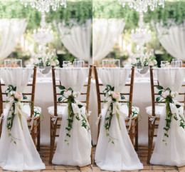Wholesale Black Chair Cover Sashes - 2018 White Chair Sashes For Weddings 30D Chiffon 200*65 cm Wedding Chair Covers Chiavari Chair Sashes DIY Style