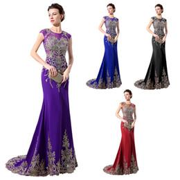 Wholesale Long Sleeve Mermaid Quinceanera Dresses - Saudi Arabic Purple Long Evening Dresses 2016 Custom Made LX039 Jewel Neck Golden Appliques Beaded Sheath Floor Length Formal Occasion Dress