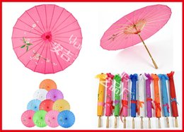 Wholesale Stretched Framed Art - 40pcs lot Chinese Umbrella Bamboo Frame Wooden Handle Wedding Parasol Pure Color with no logo Artificial Silk Art Umbrella