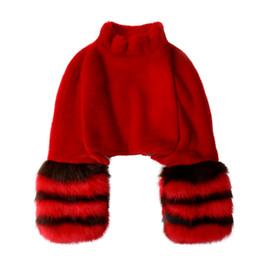 Wholesale Mink Fur Shorts - winter red pink black beige flare long sleeve stripe short pullover faux mink fur cape cloak for women stand collar jacket coat