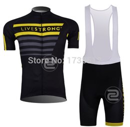 Wholesale New Team Cycling Kits - Wholesale-FREE SHIPPING 2015 100% New Livestrong team cycling short sleeve jersey shorts Kit livestrong cycling never used cycling jersey