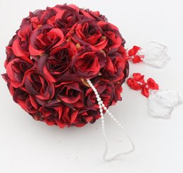 Wholesale Decorations Pomander - MIC Hot sell 5inches 8inches Red Rose Flower Kissing Ball Pew Bows Pomander Wedding Decoration Supplies