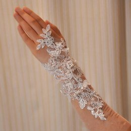 Wholesale Ivory Bridal Long Gloves - Handmade paillette pearl wedding dress bridal lace gloves wristiest Gloves long pair of gloves bride bride Free Shipping