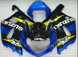 Wholesale Custom Fairings For Motorcycles - free shipping+8 gifts Fashional Blue Yellow Fits for SUZUKI GSXR600 GSXR750 2001-2003 fairings for AY036 Motorcycle fairing,support custom