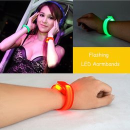 Wholesale Led Bands For Parties - Nylon Band LED Flashing Arm Band Wrist Strap Armband light for Outdoor Sports Safety Activity Party Club Cheer Night Light