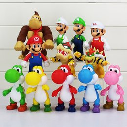 Wholesale Super Mario Pvc - 1Pcs Super Mario Yoshi Mario Luigi PVC Figure Toy Model Dolls Action figures toy 12cm Free Shipping