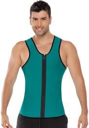 Wholesale Green Latex Bodysuit - Men Latex Body Shapers Underwear Green Orange Gray Solid Color with Zipper Undershirt Waist Trainer Spandex Bodysuit Shaperwear