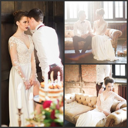 Wholesale Wedding Dresses Open Front White - Charming New Designer Long Sleeve Wedding Gowns 2015 Sexy Lace Open Back Floor Length Split Side Bridal Dresses Hot Sale
