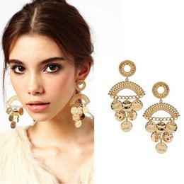 Wholesale Modern Chandeliers Gold Metal - Fashion Woman Brand Modern Gold Metal Coin Cutout Drop Earrings for Woman 2014 New Brinco Grandes Bijou CE093 coupon