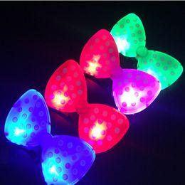 Wholesale rave hair - New Arrival Christmas LED Butterfly Knot Hair Clip Pins Headbands Party Rave Luminous Hair Hoop Toys