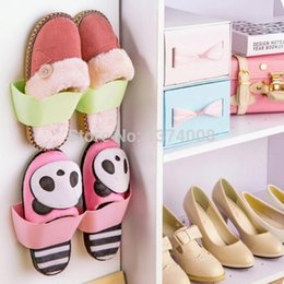 Wholesale Wall Mount Shoe Rack - Free Shipping New 7pcs Antique Plastic Stand For Hanging Shoes Strange Products Storage Shelf Wall-Mounted Shoe Rack 5color