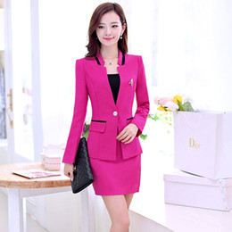 Wholesale Ladies Nice Dress - Free shipping! Fashion high quality slim lady career suits women work clothes business suits nice suits for girls with Wrapped chest