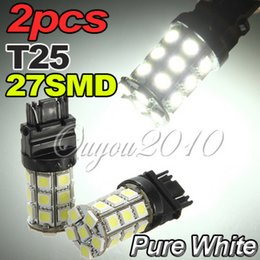 Wholesale T25 Free Shipping - 2pcs T25 3157 27SMD 5050 LED Tail Brake Stop Turn Signal Light Lamp Bulb Red 12V White Red Free Shipping