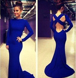 Wholesale Dark Blue Spandex Shirt - 2016 Royal Blue Evening Gowns Custom Made Crew Neck Long Sleeves Crisscross Back Court Train Sexy Sheath Prom Party Dresses BO5960