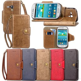 Wholesale Hand For Case S3 - Retro Business PU Leather Flip Case for Samsung Galaxy S3 Mini i8190 with Card Holder Strong Hand Strap