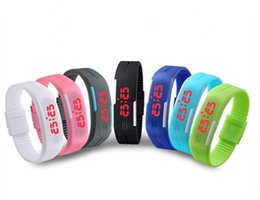 Wholesale Magnets Mm - Newest Fashion Soft Silicon Rubber Sport Waterproof Watches LED Screen Digital Watch Bracelet Wristwatch With Magnet Buckle