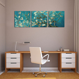 pittura a fiore incorniciata Sconti 3 pezzi Wall Art Painting Apricot Blossom Figure di Van Gogh's Works of Painting Stampe su tela per la decorazione domestica con cornice pronta per essere appesa