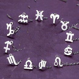 Wholesale Cheap Sterling Silver Bracelets - Cheap Price DIY Wholesale Zodiac Charms For Bracelet And Necklace 925 Sterling Silver Twelve Constellations Signs 12pcs Lot