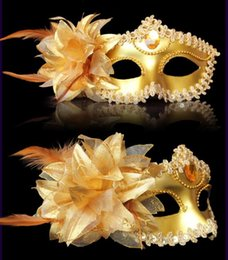 Wholesale Celebrity Masks Wholesale - masquerade masks for adults venetian feather mask half masks with Lateral flowers mardi gras masks halloween decorations party masks