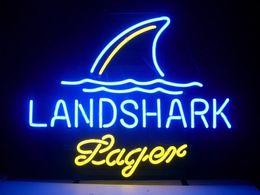 "Wholesale White Lager - New LandShark Lager Neon Beer Sign Light Bar Sign Real Glass Neon Light Beer Sign 17""X14"""