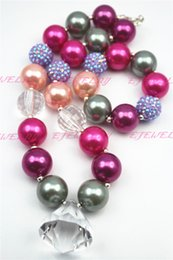 Wholesale Water Beads For Plants - Xmas Gifts Necklace gray&purple water drop Purple beads chunky necklaces for girls and kids CB274