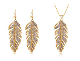 Wholesale Set Party Feather - Fashion Christmas Holiday sale 18k Gold Plated Feather Design Rhinestone Austrian Crystal Jewelry Sets For Women Free Shipping