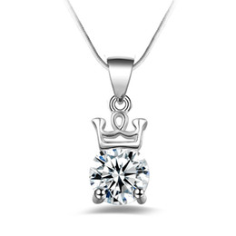 Wholesale Crown Pendant Necklace Wholesale - Free shipping fashion high quality 925 silver Crystal Crown diamond jewelry 925 silver necklace Valentine's Day holiday gifts hot 1640