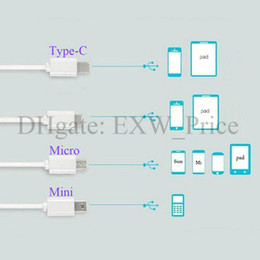 Wholesale White Mini Usb Cable - 4 in 1 20cm length charging cable wire with micro usb V8 Type-C Mini port for different cell phones 200pcs