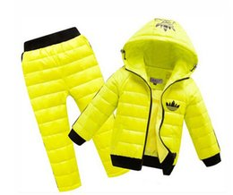 Wholesale Down Pants Winter - 2016 New baby boys girls winter clothing suit set baby child Sports warm down jacket+pants sets suits Children set