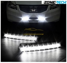 Wholesale 12v Running Led - New White Car 12V DC Head Lamp Daytime Running Light 8 LED DRL Daylight Kit free shipping