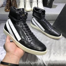 Wholesale vintage work boots - New Listed High Top Genuine Leather stripe vintage slp comfortable street men Boots best quality luxury handmade boots