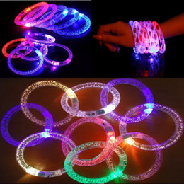 glow glitter Promo Codes - LED Acrylic Glitter Glow Flash Bracelet Light Fluorescent Sticks Luminous Crystal Hand Ring Bangle Stunning Dance Party Christmas Gifts