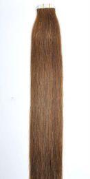 """Cheveux clairs de peau marron en Ligne-7A Vente en gros - 14 """"- 24"""" 100% Humaine PU EMY Ruban Extensions de cheveux de la peau 2.5g / pcs 40pcs100g / set couleur # 6 brun clair DHL GRATUIT"""