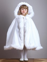 Wholesale little girls capes - 2018 New Fur Flower Girls Hooded Cloaks Winter Wedding Capes Wicca Robe Warm Coats Little Kids Jacket Christmas White Events Accessories