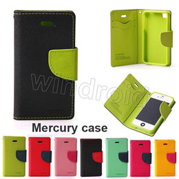 Wholesale Galaxy S4 Flip Cover Folio - Mercury Wallet Leather Stand PU & TPU Hybrid Case Folio Flip Cover For All Phones iPhone 6 Plus 5 5S Galaxy S3 S4 S5 S6 Edge Free shipping