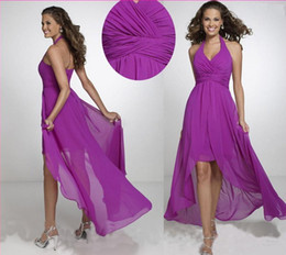 Wholesale Classic Short Bridesmaid Dresses - 2016 Halter Purple Short Front Long Back Prom Dress Chiffon High Low Bridesmaid Dress Fashion Dresses For Wedding Party Evening Formal Gowns