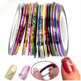Wholesale Line Nail Art Tips Decoration - Rolls Striping Tape Line Nail Art Tips Decoration Sticker Mixed Colors Good Quality Beautiful Nail Stickers Hot Selling 30pcs