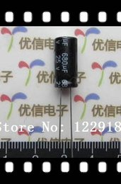 Wholesale Electrolytic Radial Capacitor - Wholesale-Free shiping 100pcs 680uF 25V 8*16mm 105C Radial Electrolytic Capacitor