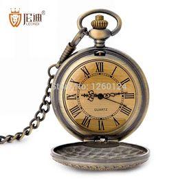 Wholesale Titanium Pocket Watches For Men - Antique Roman Tick Pocket Watch Retro Letters Quartz Vintage Fob Watch for Man and Women Top Quality Grandpa Best Gift