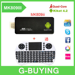 Wholesale Mini Pc Android Hdmi Keyboard - New MK809iii Mini PC Quad Core TV Box RK3188 Android 4.4.2 2G 8GB Bluetooth Wifi TV Player HDMI tv stick + Air mouse keyboard i8