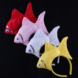 Wholesale Fishing Headwear - Lovley lifelike Animal Ocean Sea Fish Headband Headdress Party Costume Halloween Headwear Hair Accessories Kids Cosplay Props