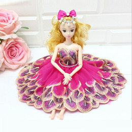 Wholesale vinyl stands - 7 Styles Creative handmade wedding doll Standing 30cm Peacock lace Fashion dress doll Car ornaments Gifts for girls
