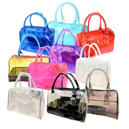Wholesale Wholesale Clear Pvc Woman Handbags - Wholesale-Fashionable Women Bag Jelly Clear Bucket Shoulder Bag PVC 2in1 Handbags Clutch Tote
