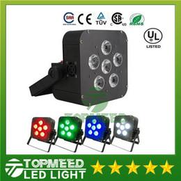 Wholesale Battery Par - DHL 6x8w LED Par Light Wireless 4in1 Battery led flat Wireless & DMX LED Stage Battery Powered led flat par lights Club Lighting 44