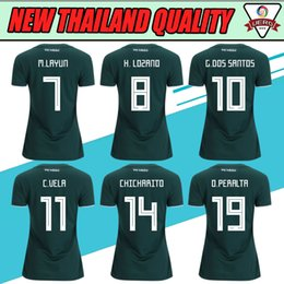 Wholesale Womens Jersey Tops - Top Thai 2017 2018 Mexico home green womens soccer jerseys best quality football t shirts girls outdoor appare ladys short sleeve sportwe